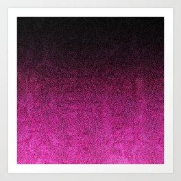 Pink & Black Glitter Gradient Art Print