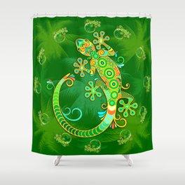 Gecko Lizard Colorful Tattoo Style Shower Curtain