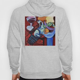 The Jug Did A Jig, Kitchen Cafe Fruit Bowl Wine Abstract Painting Hoody