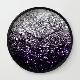 Dark Night Purple Black Silver Glitter #1 #shiny #decor #art #society6 Wall Clock