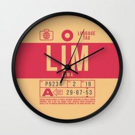 Baggage Tag B - LIM Lima Peru Wall Clock