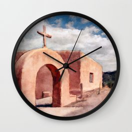 Chimayo - Mission Church In Southwest New Mexico Wall Clock