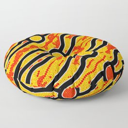 Authentic Aboriginal Art - Bush Fires Floor Pillow