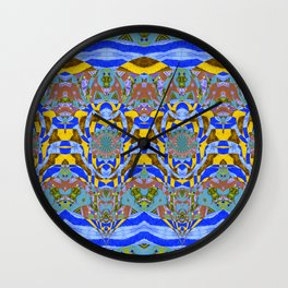 Blue Green and Yellow Neo Tribal Abstract Pattern Wall Clock