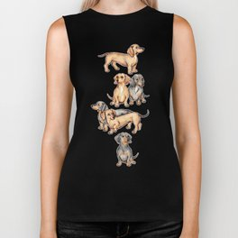Dachshunds and dogwood blossoms Biker Tank