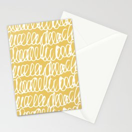 Doodles Waves Yellow Stationery Cards