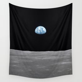 Earth rise over the Moon Wall Tapestry