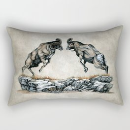 Fighting Bighorn Sheep Rams Rectangular Pillow