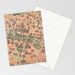 Vintage Paris France Monument Map (1882) Stationery Cards