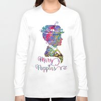 mary poppins Long Sleeve T-shirts featuring Mary Poppins Portrait Silhouette by Bitter Moon