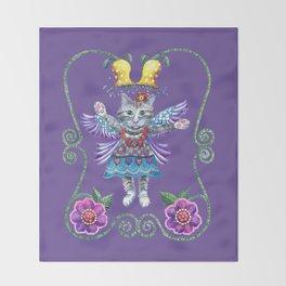 Angel Kitty (Purple) Throw Blanket
