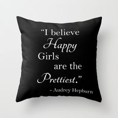 Happy Girls - Black and white Throw Pillow