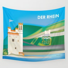 Der Rhein, Germany - Skyline Illustration by Loose Petals Wall Tapestry