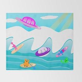 Aliens Go Surfing Throw Blanket