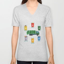 Garbage Truck Recycle Reuse Save Mother Earth Day Unisex V-Neck