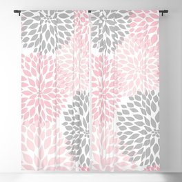 Pink Gray Dahlia Floral Blackout Curtain