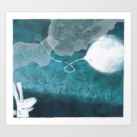 baloon Art Prints featuring moon baloon by stefania coniglio