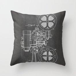 Film Projector Patent - Cinema Art - Black Chalkboard Throw Pillow