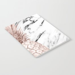 Rose Gold Pineapple on Black and White Marble Notebook