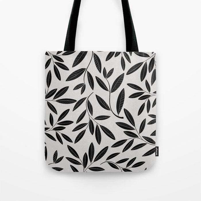 Black & White Plant Leaves Pattern Tote Bag
