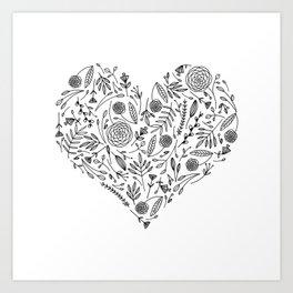 Floral Alphabet // Heart Art Print