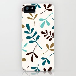 Assorted Leaf Silhouettes Teals Brown Gold Cream iPhone Case