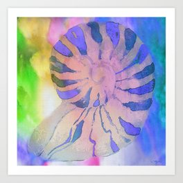 NAUTILUS SEA SHELL BLUE AND PURPLE IMPRESSIONS Art Print