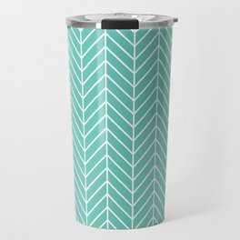 Turquoise Herringbone Pattern Travel Mug