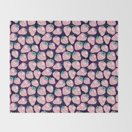 Pink Strawberry pattern on purple background Throw Blanket
