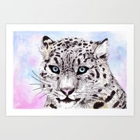 snow leopard Art Prints featuring Snow Leopard by KimCarter