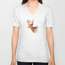 Male Deer 02 in watercolor Unisex V-Neck