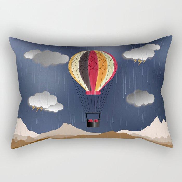 Balloon Aeronautics Rain Rectangular Pillow