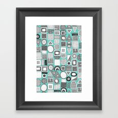 frisson memphis bw aqua Framed Art Print