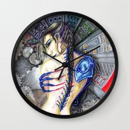 Femme moderne- modern woman future cyborg Wall Clock