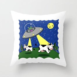 Cow Abduction! Throw Pillow