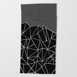 Ab Lines 45 Black Beach Towel