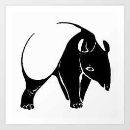 Bold Graphic Art Animal Design Totally Tapir Black & White Art Print