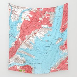 Vintage Map of Jersey City NJ (1955) 2 Wall Tapestry