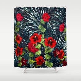 Hawaiian Red Hibiscus Rain Forest Shower Curtain