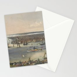 Vintage Pictorial Map of New York City (1848) Stationery Cards