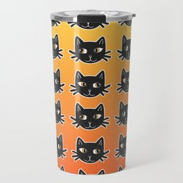 Black Cats Halloween Pattern Travel Mug