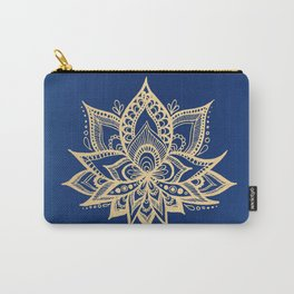 Gold and Blue Lotus Flower Mandala Carry-All Pouch