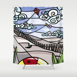 Flying Kites on the Beach Shower Curtain