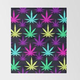 Colorful Marijuna Weed Throw Blanket