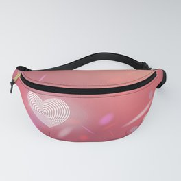 Abstract pink background, light glare. Heart. Valentines day card Fanny Pack