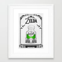 legend of zelda Framed Art Prints featuring Zelda legend - Green potion  by Art & Be