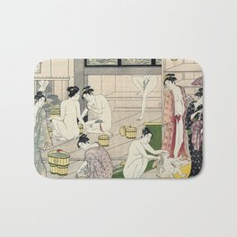 Interior of a Bathhouse by Torii Kiyonaga - Japanese Woodblock Bath Mat
