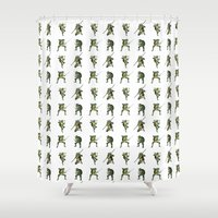 ninja turtle Shower Curtains featuring Ninja Turtle Pattern by Neal Julian