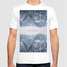 Wild and Free White SMALL Mens Fitted Tee