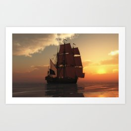 Vintage Travel Poster - Cruise Ship Art Print